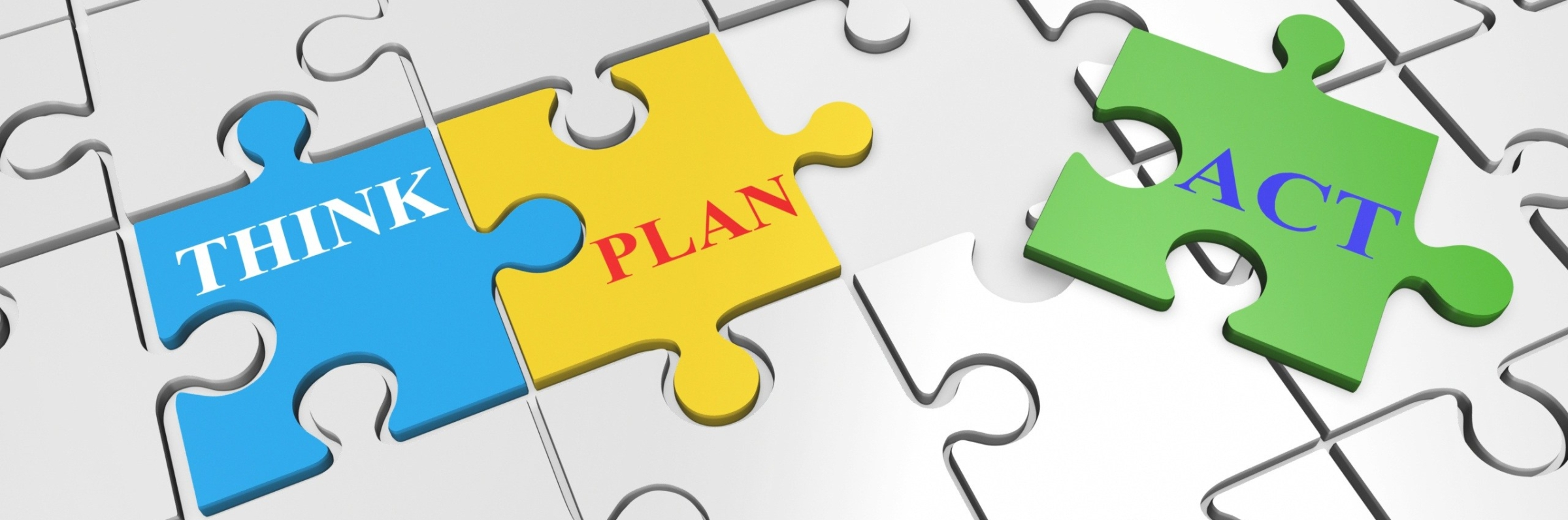 Think, Plan, Act (puzzle pieces)