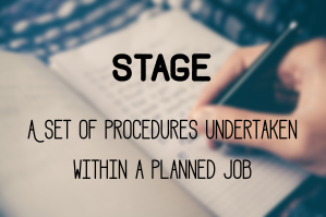 Stage: A set of procedures undertaken within a planned job.