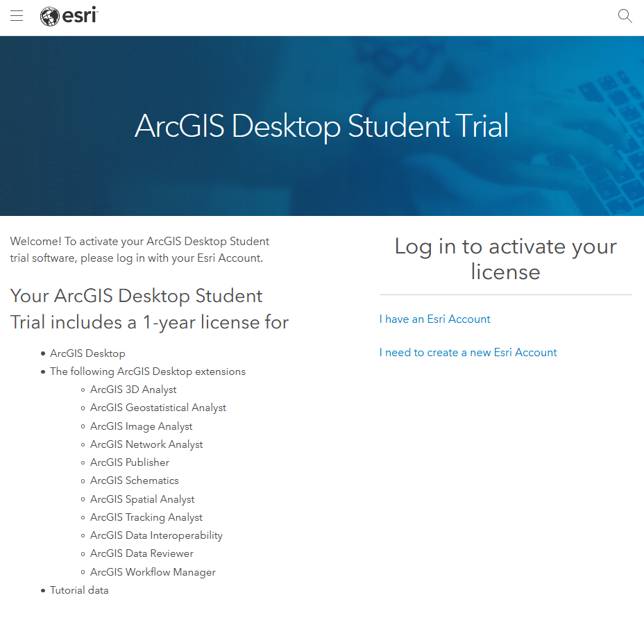 ArcGIS Student Edition Activation Login Screenshot